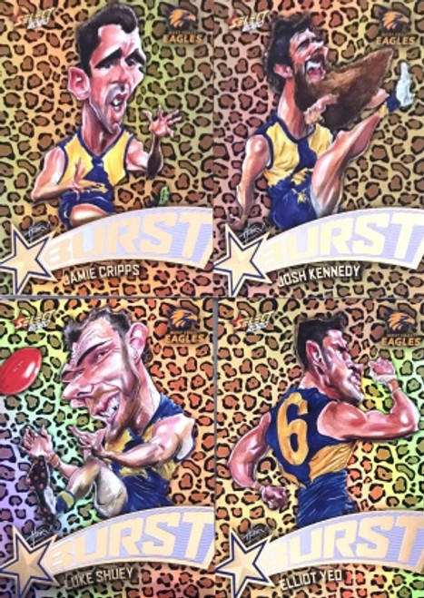 2020 AFL Footy Stars West Coast Eagles Leopard Starburst Set