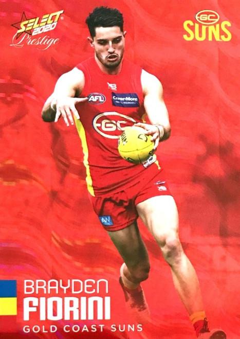2020 AFL Footy Stars Prestige Gold Coast Suns Red Parallel card BRAYDEN FIORINI