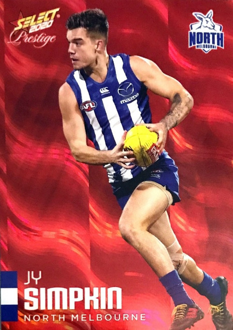 2020 AFL Footy Stars Prestige North Melbourne Kangaroos Red Parallel Card JY SIMPKIN