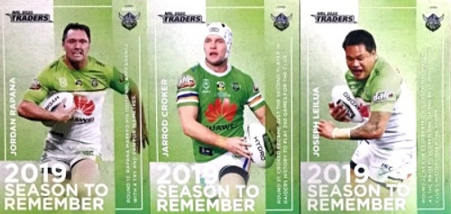 2020 NRL Traders CANBERRA RAIDERS 2019 Season to Remember Cards