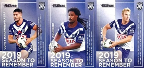 2020 NRL Traders CANTERBURY BULLDOGS 2019 Season To Remember Card