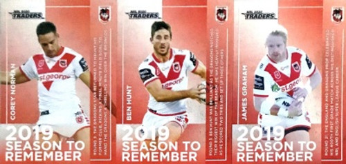 2020 NRL Traders SAINT GEORGE DRAGONS 2019 Season To Remember cards