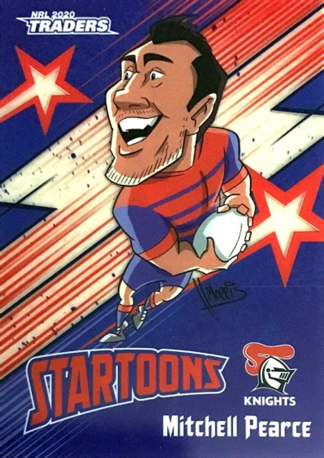2020 NRL Traders Newcastle Knights Startoons MITCHELL PEARCE CARD