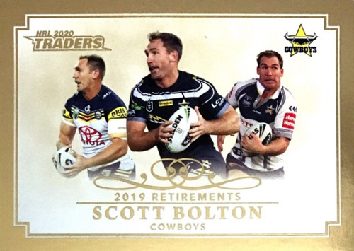 2020 NRL Traders North Queensland Cowboys SCOTT BOLTON 2019 Retirements Card