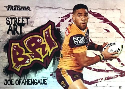 2020 NRL Traders Brisbane Broncos SA01/16 JOE OFAHENGAUE Street Art Card