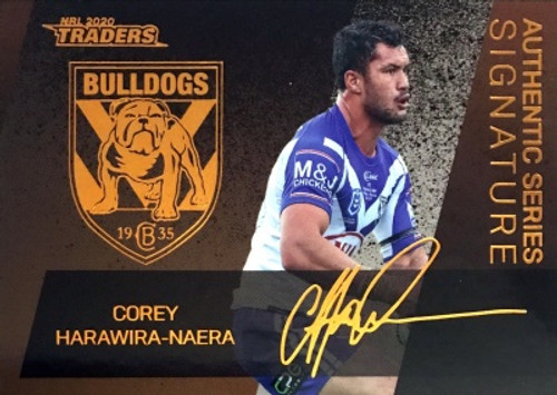 2020 NRL Traders Canterbury Bulldogs ASB03/16 COREY HARAWIRA-NAERA Authentic Series Signature Card
