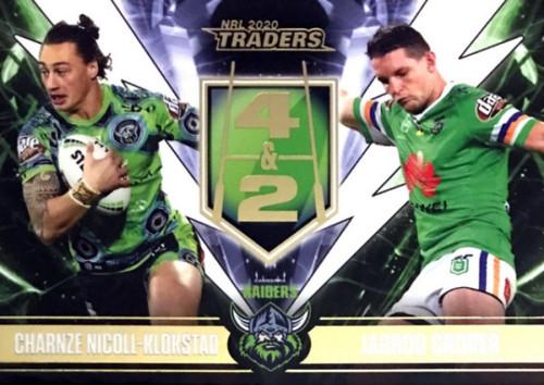 2020 NRL Traders Canberra Raiders 4&2 CHARNZE NICOLL-KLOKSTAD -JARROD CROKER Card
