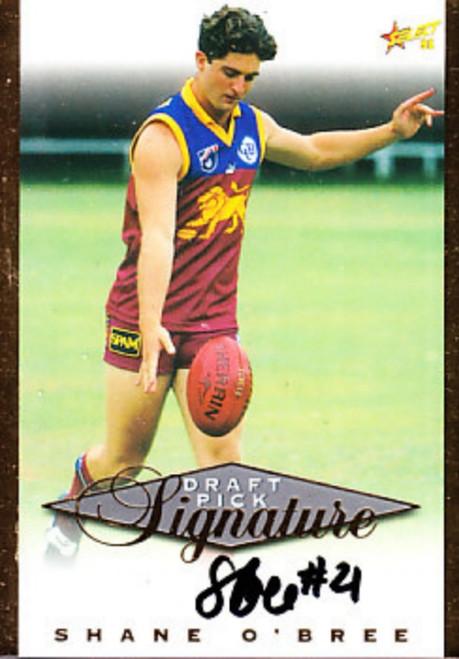 1998 Select AFL SHANE O'BREE Brisbane Lions Signature Card