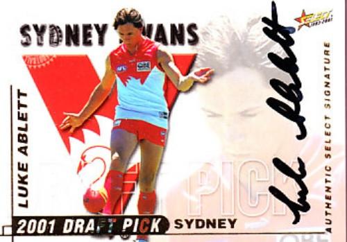 2001 Select Authentic AFL LUKE ABLETT Sydney Swans Draft Pick Signature Card