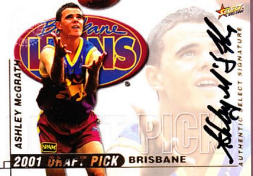 2001 Select Authentic AFL ASHLEY McGRATH Brisbane Lions