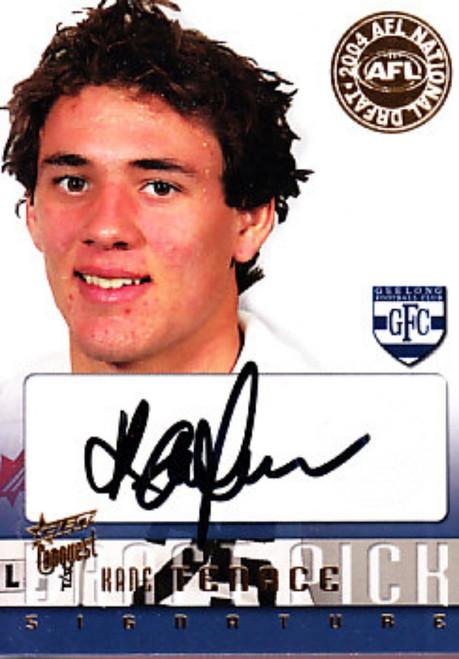 2004 Select Conquest AFL KANE TENACE Geelong Cats Draft Pick Signature Card
