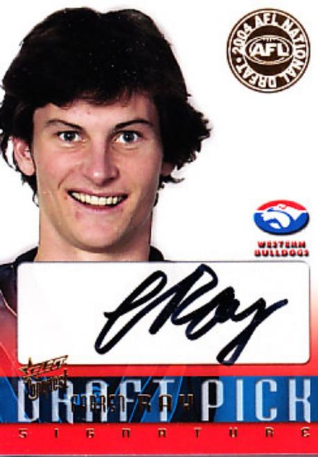 2004 Select Conquest AFL FARREN RAY Western Bulldogs Draft Pick Signature Card