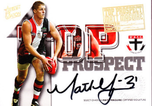 2004 Select Ovation AFL MATT MAGUIRE St Kilda Saints Top Prospect Signature Card