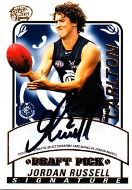 2005 Select Dynasty AFL JORDAN RUSSELL Carlton Blues Draft Pick Signature Card