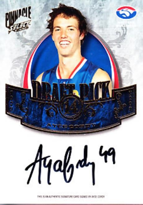 2009 Select Pinnacle AFL AYCE CORDY Western Bulldogs Draft Pick Signature Card