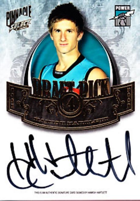 2009 Select Pinnacle AFL HAMISH HARTLETT Port Adelaide Power Draft Pick Signature Card