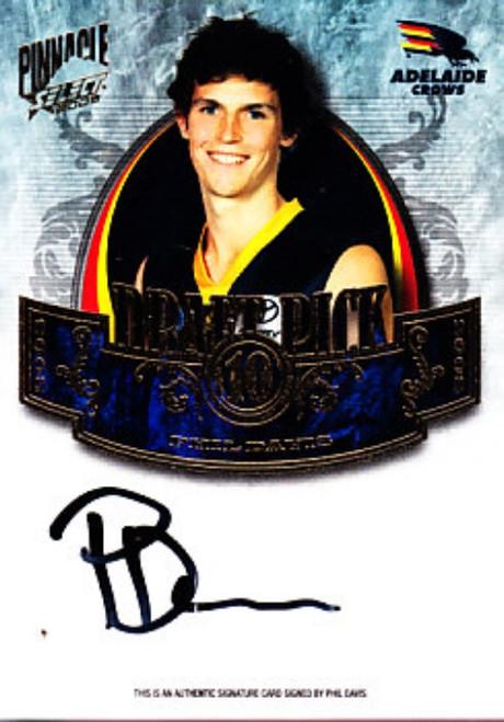 2009 Select Pinnacle AFL PHIL DAVIS Adelaide Crows Draft Pick Signature Card