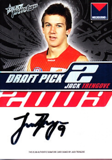 2010 Select Prestige AFL JACK TRENGROVE Melbourne Demons Draft Pick Signature Card