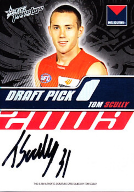 2010 Select Prestige AFL TOM SCULLY Melbourne Demons Draft Pick Signature Card