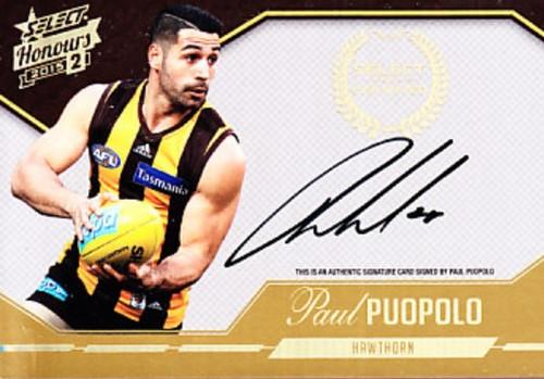 2015 Select Honours S2 AFL PAUL PUOPOLO Hawthorn Hawks Signature Card