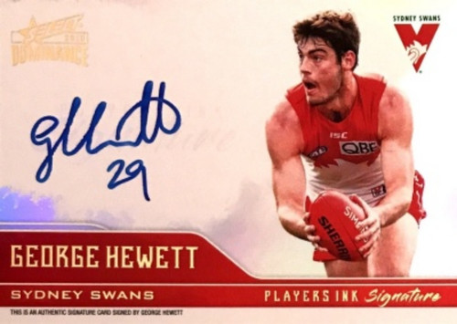 2019 AFL Select Dominance GEORGE HEWETT Sydney Swans Players Ink Signature Card