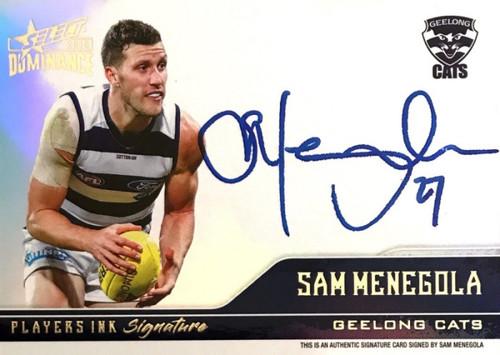 2019 AFL Select Dominance SAM MENEGOLA Geelong Cats Players Ink Signature Card