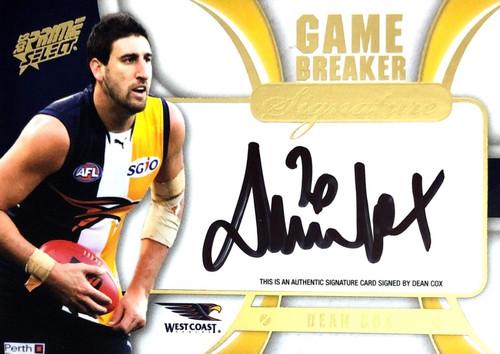 2013 AFL Select Prime DEAN COX West Coast Eagles Game Breaker Signature Card