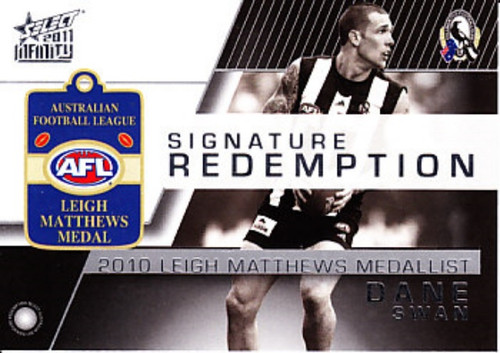 2011 AFL Select Infinity DANE SWAN Collingwood Magpies Leigh Matthews Medal Signature Card