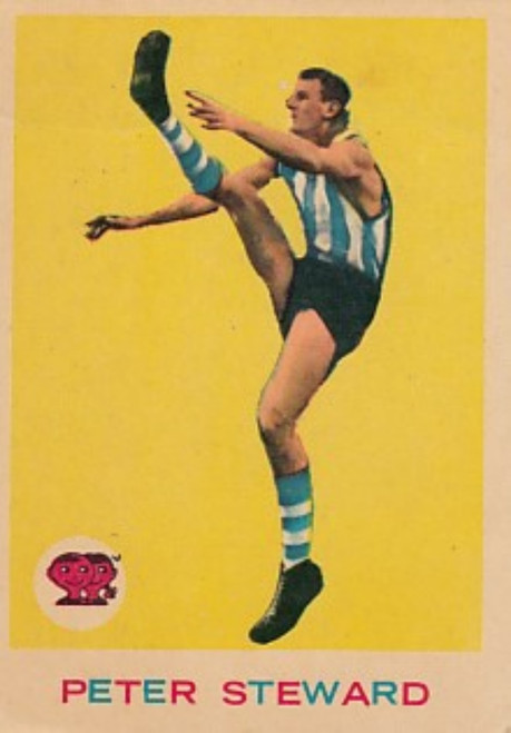 1964 VFL Scanlens #05 PETER STEWARD North Melbourne Kangaroos card