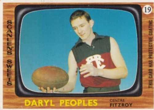 1967 VFL Scanlens #19 DARYL PEOPLES Fitzroy Lions Card
