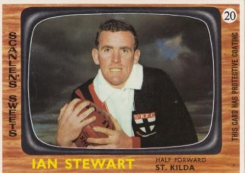 1967 VFL Scanlens #20 IAN STEWART St Kilda Saints Card