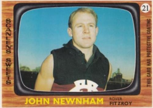 1967 VFL Scanlens #21 JOHN NEWNHAM Fitzroy Lions Card