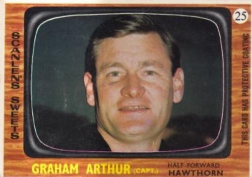 1967 VFL Scanlens #25 GRAHAM ARTHUR Hawthorn Hawks Card
