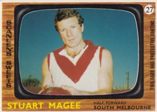 1967 VFL Scanlens #27 STUART MAGEE South Melbourne Swans Card