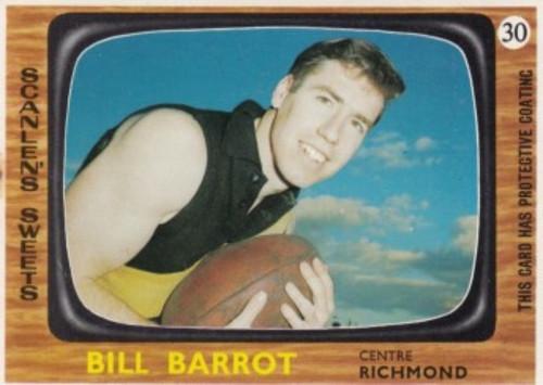 1967 VFL Scanlens #30 BILL BARROT Richmond Tigers Card