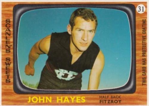 1967 VFL Scanlens #31 JOHN HAYES Fitzroy Lions Card