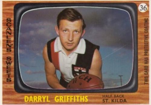 1967 VFL Scanlens #36 DARRYL GRIFFITHS St Kilda Saints Card