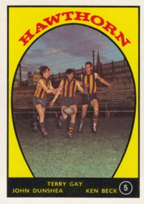 1968A VFL Scanlens #05 HAWTHORN HAWKS Team Card