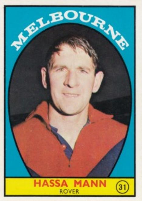 1968A VFL Scanlens #31 HASSA MANN Melbourne Demons card