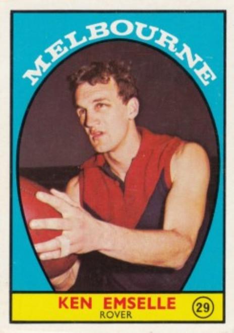 1968A VFl Scanlens #29 KEN EMSELLE Melbourne Demons Card