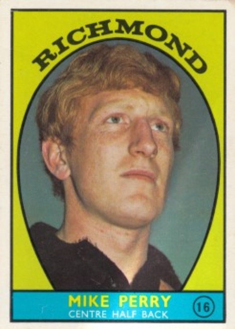 1968A VFL Scanlens #16 MIKE PERRY Richmond Tigers Card