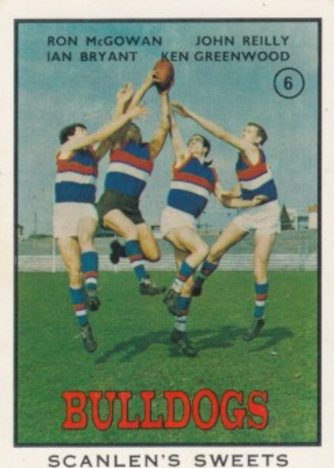 1968B VFL Scanlens #06 FOOTSCRAY BULLDOGS Team Card
