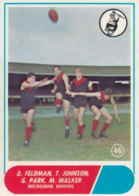 1969 VFL Scanlens #46 MELBOURNE DEMONS Team card