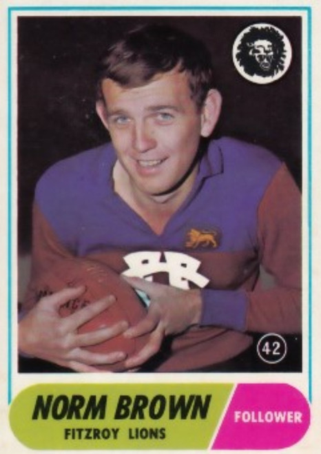 1969 VFL Scanlens #42 NORM BROWN Fitzroy Lions Card