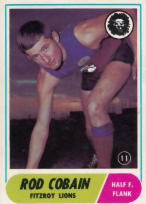 1969 VFL Scanlens #11 ROD COBAIN Fitzroy Lions Card