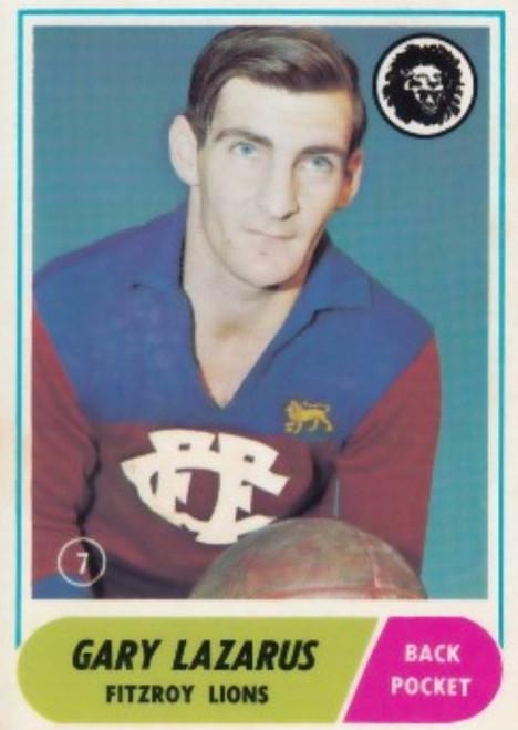 1969 VFL Scanlens #07 GARY LAZARUS Fitzroy Lions Card