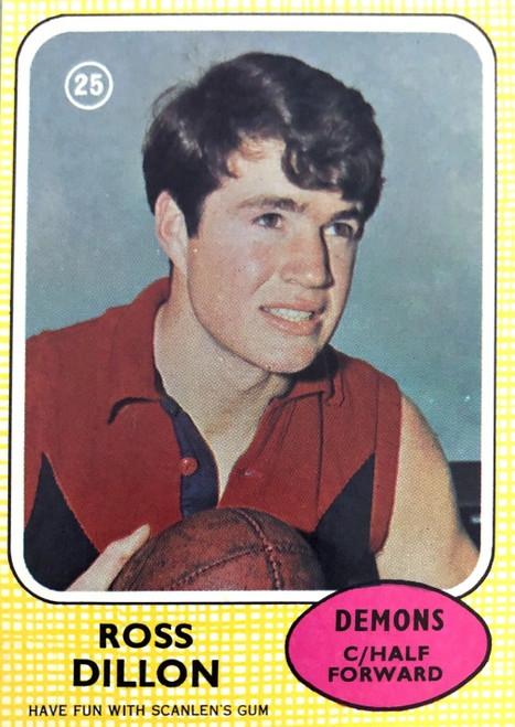 1970 VFL Scanlens #25 ROSS DILLION Melbourne Demons Card
