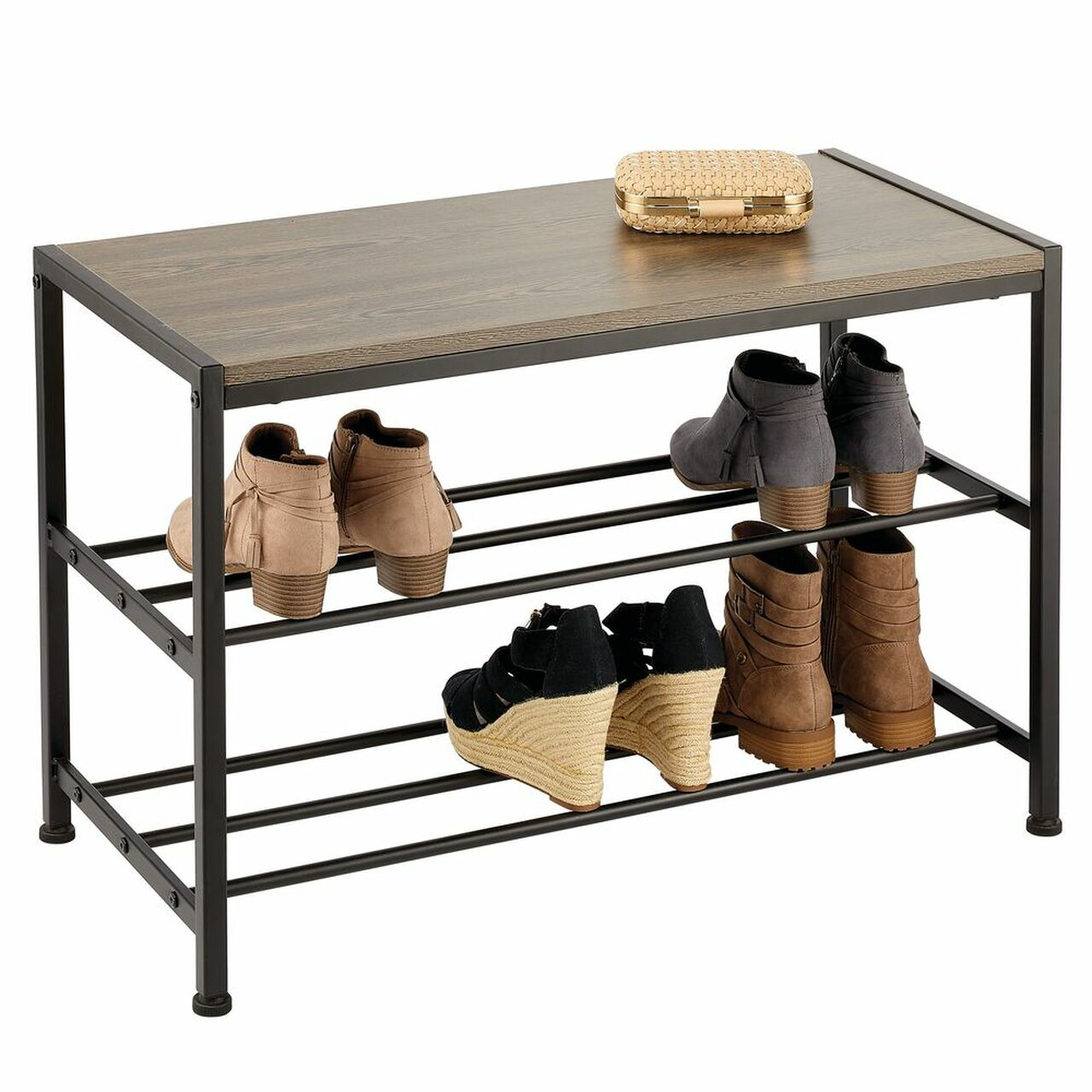 Picture of: Metal And Wood Entryway Bench With Shoe Storage Black Grey
