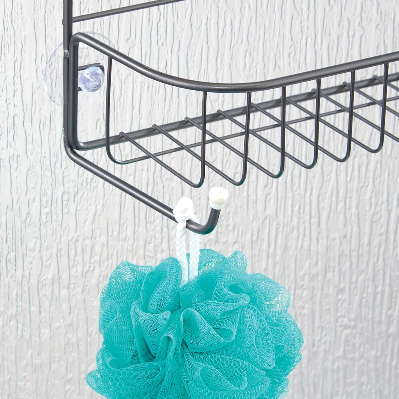 Loofahs Body Wash Hanging Storage Organizer Center with Built-in Hooks and Baskets on 2 Levels for Shampoo Graphite Gray Rust Resistant mDesign Extra Wide Metal Wire Tub /& Shower Caddy