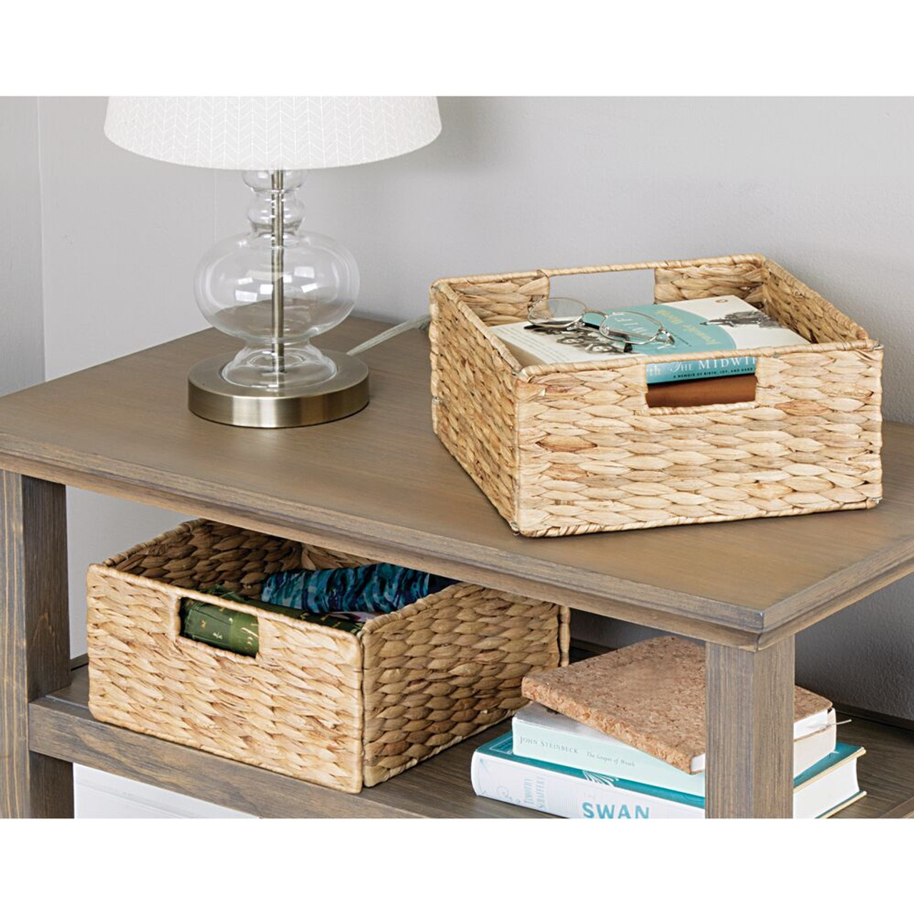 mDesign Weaved Collapsible Folding Storage Cube with Handles Natural Pack of 2